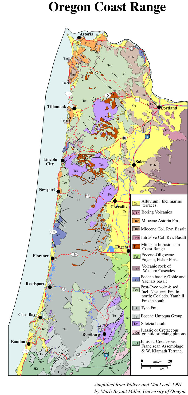 Geologic map of Oregon Coast Range
