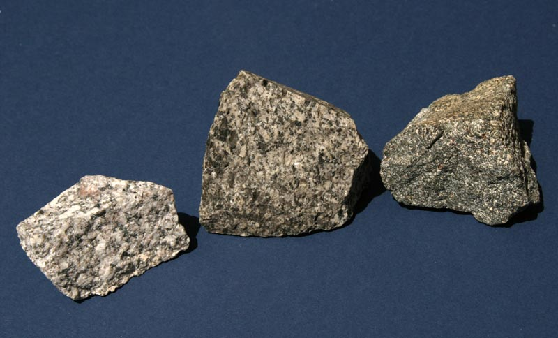 Basalt Silica Content Of : Geology picture of intrusive igneous rock samples