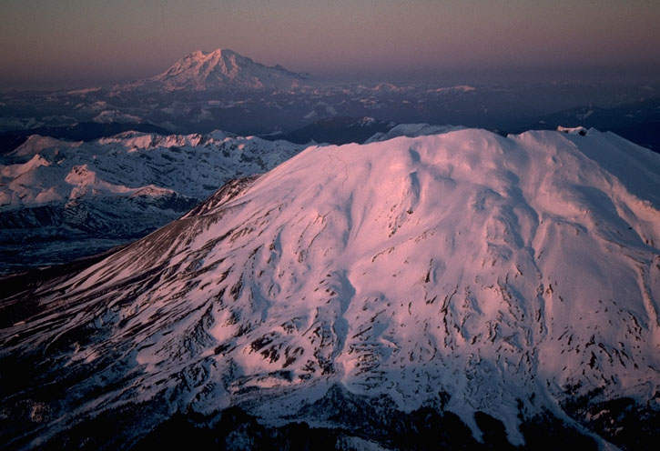 Mt. St. Helens and Mt. Rainier volcanoes