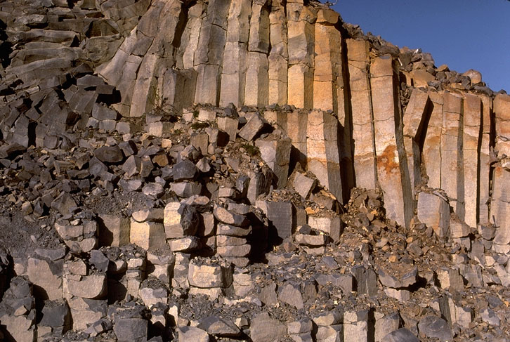 Columnar jointing in basalt.